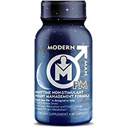 Modern Man PM – Night Time Fat Burner & Sleep Aid, Caffeine Free Weight Loss & Stress Relief Supplement for Men With Ashwagandha, 60 Capsules/ 30 Day Supply