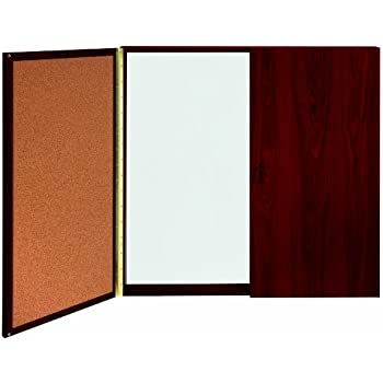 Ghent Conference Cabinet   Porcelain Magnetic Whiteboard W/Cork On Interior  Of Doors   Mahogany