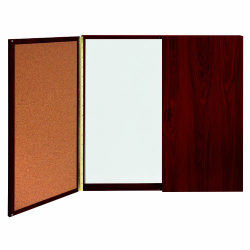 Ghent Conference Cabinet - Porcelain Magnetic Whiteboard w/Cork on Interior of Doors - Mahogany - Made in the USA by Ghent