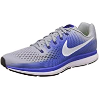 NIKE Men's Air Zoom Pegasus 34 Wolf Running Shoes (Wolf Grey/White Racer Blue)