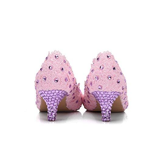 scarpe Scarpe Pink scarpe matrimonio tacco sposa Qingchunhuangtang Fiore acqua scarpe pizzi trapanare alto tacco le matrimonio ETRAgPqx