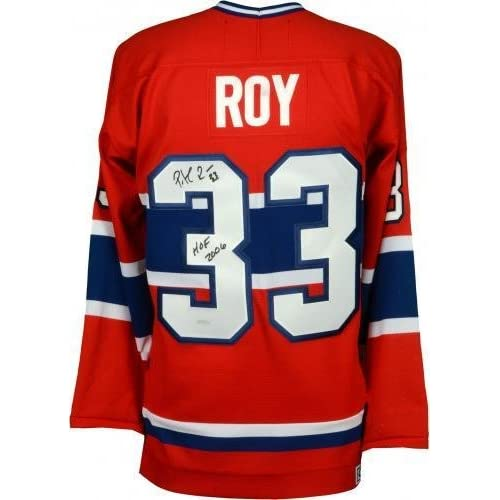 ... hot sale 2017 Framed Patrick Roy Montreal Canadiens Autographed  Centennial Red Jersey with HOF 2006 Inscription ... 0f93c0a66a9