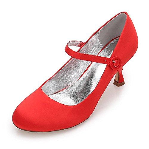 L@YC Women's Wedding F17061-27 Almond Toe High Heels Satin Party Court/Wedding Shoes Custom Red