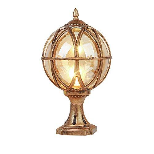 CGJDZMD Retro Simplicity Waterproof LED Outdoor Earth Lighting Pole Caplights Global Wall Light Post Aluminum Column Lamps Glass Shade Pillar Lamp (Color : Bronze, Size : -