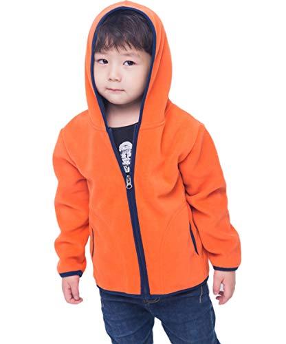 Orange Toddler Sweatshirt - LANBAOSI Girls Boys Hooded Full Zip Polar Fleece Jacket Thermal Outdoor Hoodie Orange
