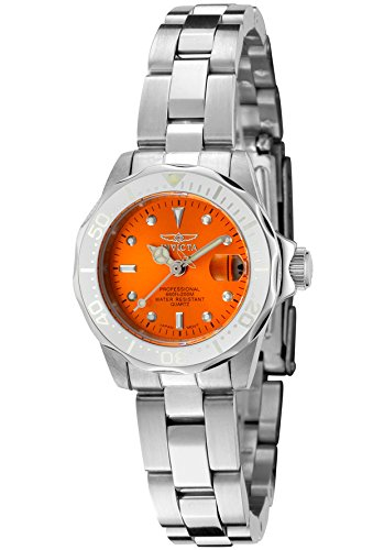 Invicta Women's Pro Diver/Mini Diver Orange Dial Stainless Steel