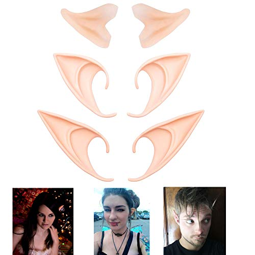 (Timor Elf Ears, Latex Fairy Pixie Ears Accessory Halloween Party Cosplay Masks Goblin Soft Ears-3 Pairs in Different Sizes)