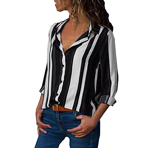 Striped Button Up Tops Women Casual Cuffed Long Sleeve V-Neck Shirt ()