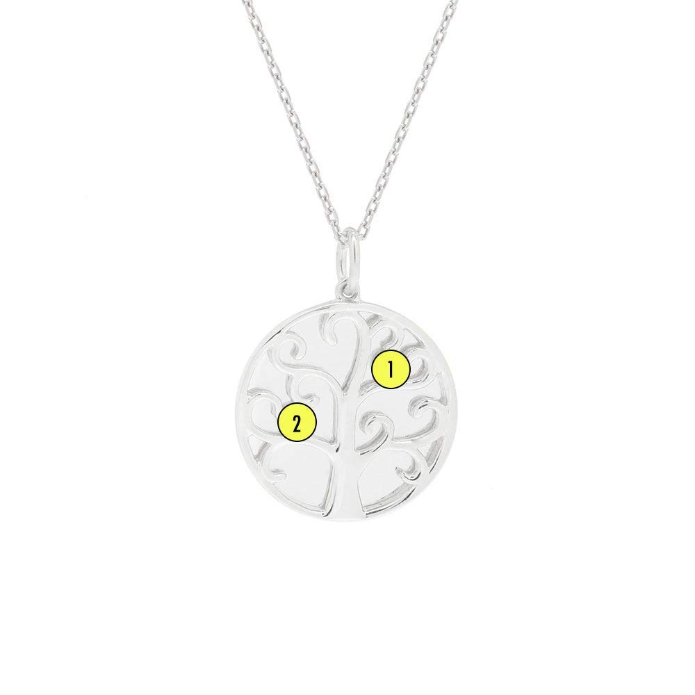 2 Simulated Stone Engravable Family Tree Silver Necklace