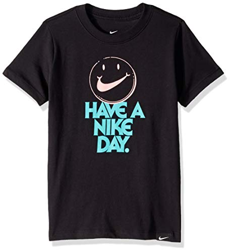 NIKE Girl's NSW Tee Have a Day, Black, Small