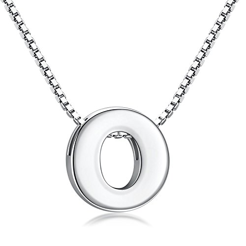 Candyfancy O Initial Necklace 925 Sterling Silver Letter Pendant Personalized 26 Alphabet Necklace for Women Men Gift with 18