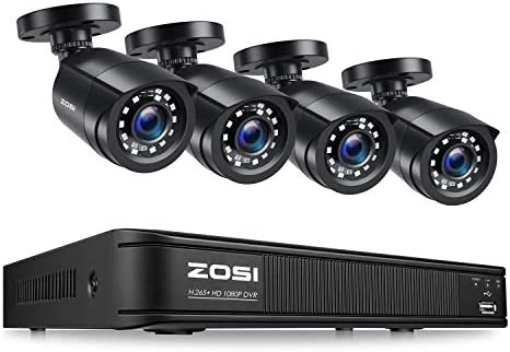 ZOSI H.265+1080p Home Security Camera System,8 Channel 5MP-Lite CCTV DVR with 4 x 1920TVL Weatherproof Surveillance Bullet Camera Outdoor/Indoor with 80ft Night Vision,Remote Access, Motion Alerts
