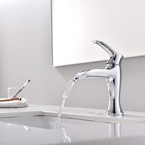Commercial Modern Stainless Steel Single Handle Chrome Finished Bathroom Faucet, Lavatory Vanity Sink Faucet Without Pop Up Drain ()