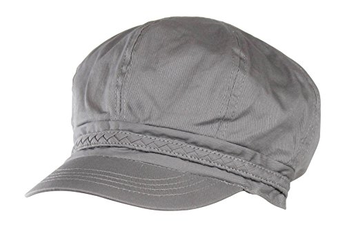 Grey Spring & Summer Cotton Cabbie Hat w/ Braided Band - Newsboy Ivy Cap (Women Hipster Hats)