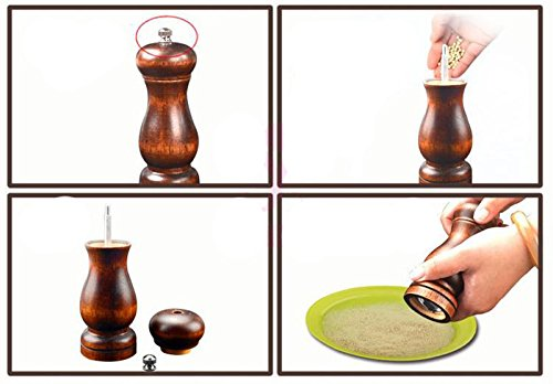 BTMB Salt and Pepper Grinders Manual Wood Pepper Mill Spice Shaker with Strong Adjustable Ceramic Coarseness 8 Inch