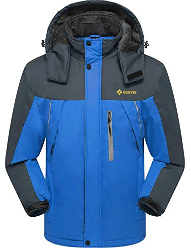 GEMYSE Men's Mountain Waterproof Ski Jacket Winter Windproof Rain Jacket(Blue,US M)