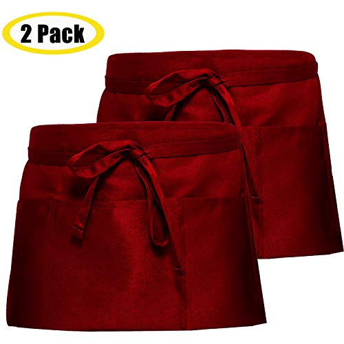 SONGXIN Server Aprons with 3 Deep Pockets 2 Pack - Waist Apron Waiter Waitress Apron Water Resistant Added Long Waist Strap Reinforced Seams Half Apron for Women Man Restaurant Apron, Red