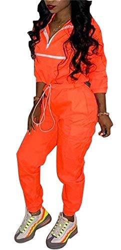 Molilove Women 2 Piece Outfits Tracksuit Jumpsuits Lightweight Windbreaker Pullover Jacket Crop Top Pants - Orange Windbreaker