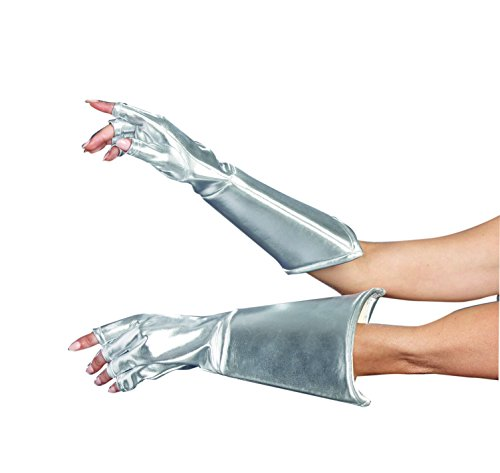 Dreamgirl Women's Intergalactic or Knight Costume Accessory, Medieval Galaxy Gloves, Silver, One -