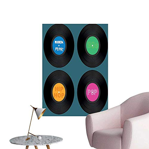 Wall Stickers for Living Room Music Vinyl Disc LP Hip Hop Listen Party Pop Vintage Recordings Vinyl Wall Stickers Print,28