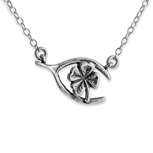 925 Sterling Silver Wishbone Clover Necklace with Jumper Chain (20 Inches)