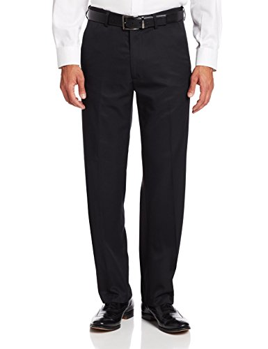 Haggar Mens Herringbone Microfiber Plain Front Pant, Black, - Outlet Mall Des Plaines