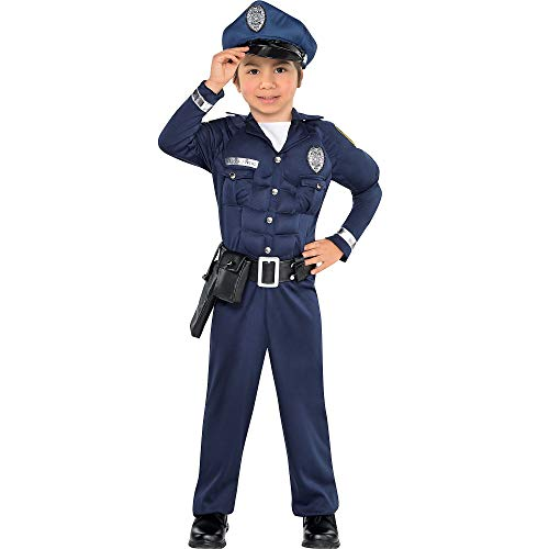 (AMSCAN Muscle Cop Halloween Costume for Boys, Small, with Included)