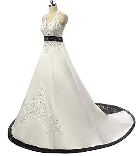 Prom Da Nuziale Anlin In Partito Da Dell'abito Capestro Vestito Sposa An85 Bianco Raso Bordeaux Del Ricamo wxYPtqAPH