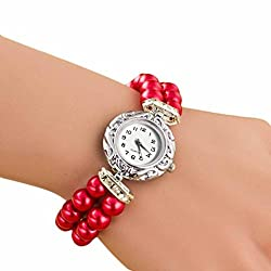 AmyDong Pearl Fashion Student Beautiful Watch Womens Classic Gold Quartz Stainless Steel Wrist Watch Bracelet (Red)