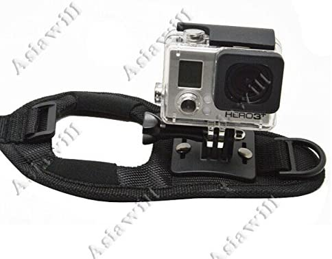 3//2 Black Asiawill Glove Style Mount Hand Strap Holder for GoPro Hero 3+ 1