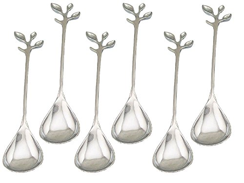 HENGRUI Creative Small Spoon Series of Handle Leaf-shaped Dessert Spoon,a Set of 6-pieces by Hengrui