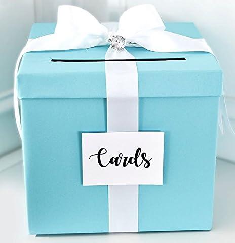 Wedding Card Box, Wedding Card Money Gift Box, Blue with white Satin Ribbon 10