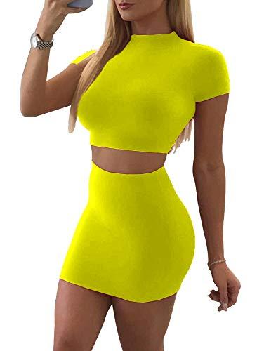 SINRGAN Women's Casual 2 Piece Short Sleeve Crop Top Bodycon Skirt Set Neon Green