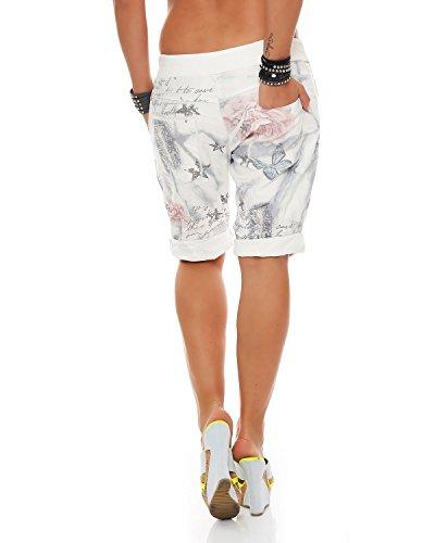 Bermuda 40 dei casual larghi ZARMEXX sport Grigio pantaloni in harem Pantaloni Fidanzato floreale stampa unica pantaloni cotone pants 44 signore Taglia di HBqHxwPt