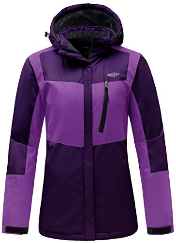 Wantdo Women's Hooded Waterproof Fleece Parka Outdoor Mountaineering Windproof Ski Jacket Purple US L
