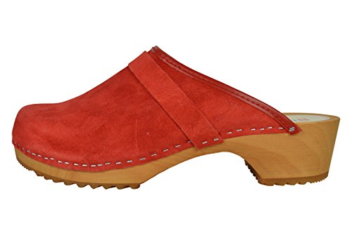 Semplice Legno Rosso in Unisex Pelle Scamosciata Buxa Zoccoli 4xOZxA