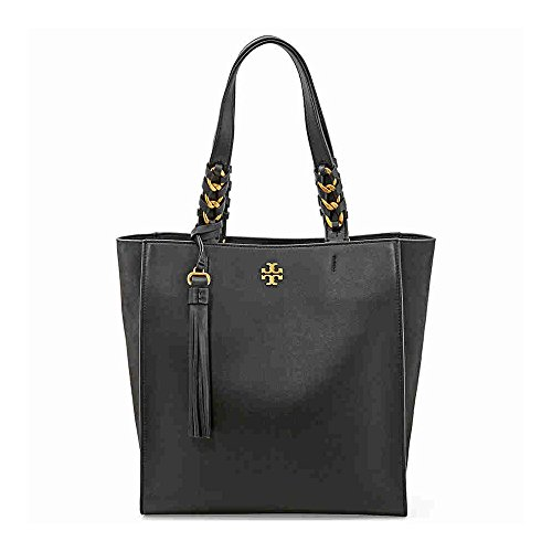 Tory Burch Brooke Leather Tote (Black) by Tory Burch