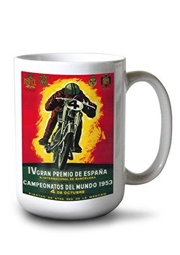 Lantern Press Gran Premio de Espana - Vintage Poster (15oz White Ceramic Mug)