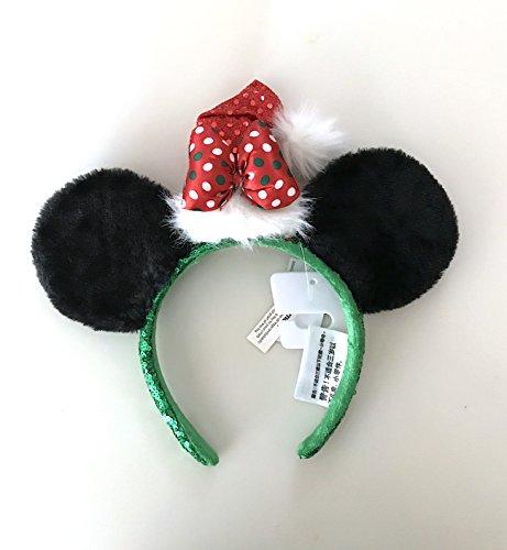 Disney Parks Minnie Mouse Bow with Santa Hat Plush Ears Headband