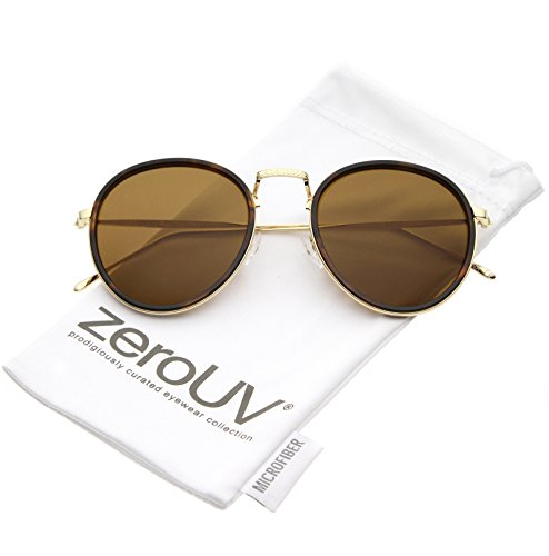 zeroUV - Modern Engraved Slim Metal Arms Neutral Color Flat Lens Round Sunglasses 51mm (Tortoise Gold / - Linda Frames Farrow