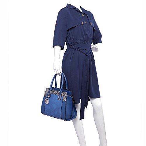 Miss LuLu Damentasche Bürotasche Elegant Handtasche Winged Tote Bag Schlangenplatte-Drucken (LT6623-Dunkelblau)