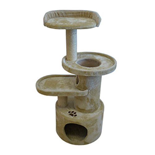 Iconic Pet Dual Scratching Post Cat Tree Condo Furniture in Beige Color - Highly Durable Plush Fabric Post, Cat Friendly Design with Sisal Rope Scratching Towers Makes Kitten Active/Fun Playing