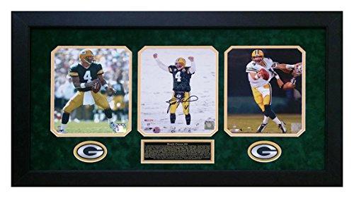Brett Farve Autographed Hand Signed Green Bay Packers 8x10 Photo Custom Framed triple set Favre -