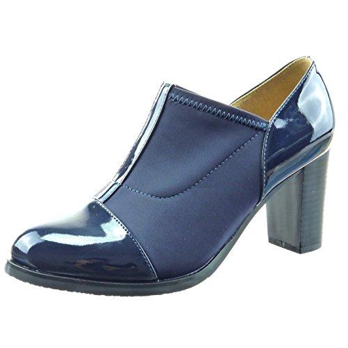 Sopily - Scarpe da Moda Stivaletti - Scarponcini chelsea boots bi-materiale alla caviglia donna finitura cuciture impunture Tacco a blocco tacco alto 7.5 CM - Blu