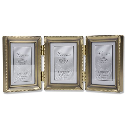 Lawrence Metals 2 x 3 Triple Picture Frame, Pewter With Beads