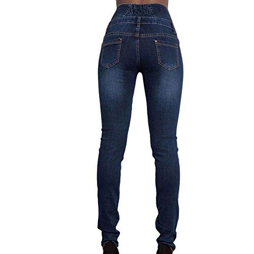 Blue Jeans Slim Haute Couleurs Amincissant Jeans Droit Bleu Sexy Femmes Elastique Jeans Collant Taille Blue WintCO Pantalons 2 Sombre qtY8OO