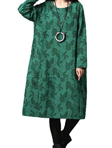 Lungo Lunga Elegante Tasche Casual Cotone Shirt T Inverno Con Costume Abiti In Allentato Girocollo Camicetta Abito Camicia Hippie Grün Donna Lino Manica Autunno x7w6qq1I