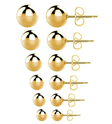 Gold Stud Earrings,316L Stainless Steel Round Ball Earrings Set for Sensitive Ears, Hypoallergenic Earrings for Women Mens (Gold, 3~8mm, Pack of ()
