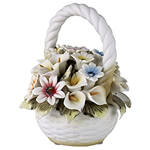Capodimonte Tuscany Collection Basket Bouquet with Colorful Roses and Flowers 15