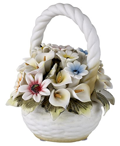 Capodimonte Tuscany Collection Basket Bouquet with Colorf...